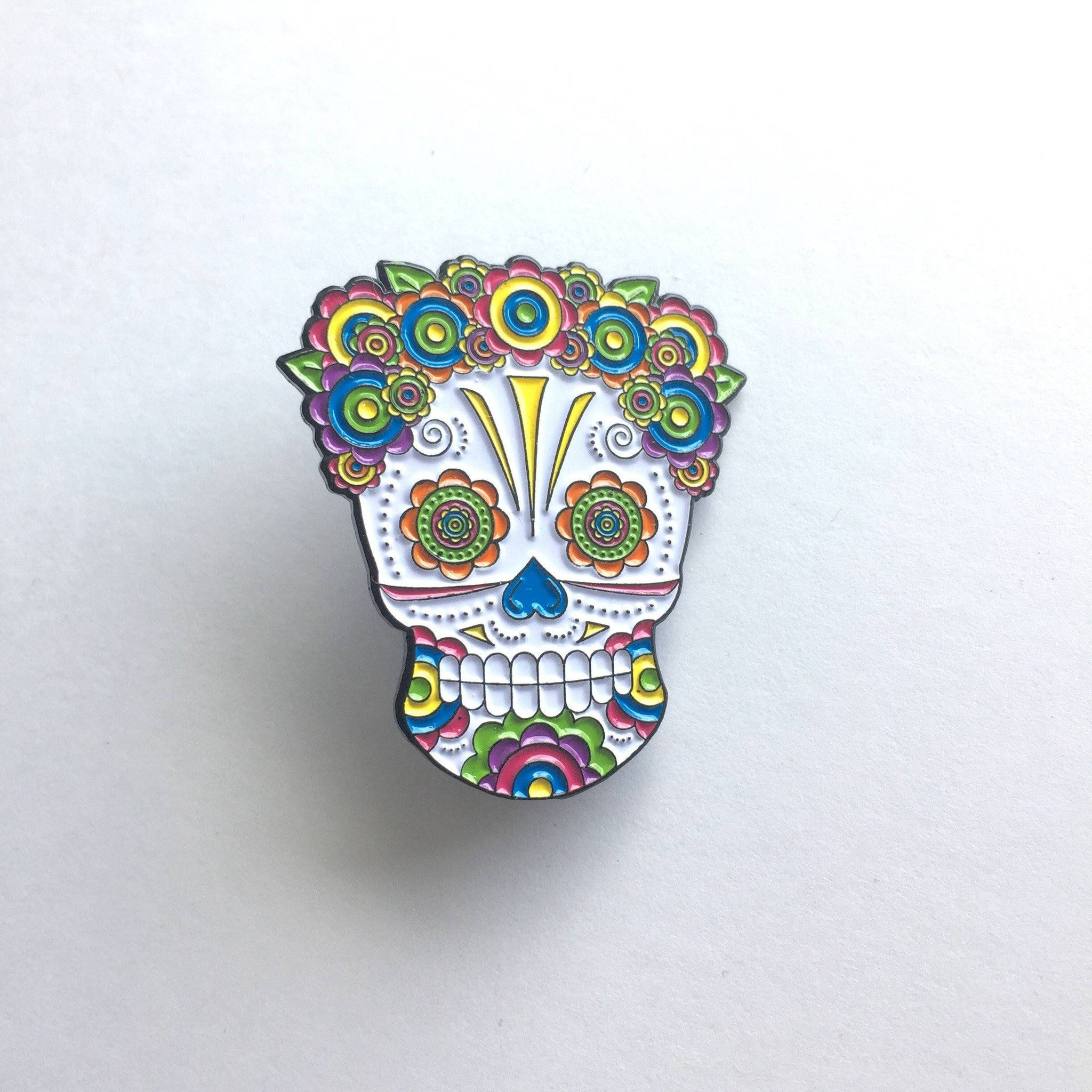 Lady Sugar Skull Soft Enamel Pin 1.50""