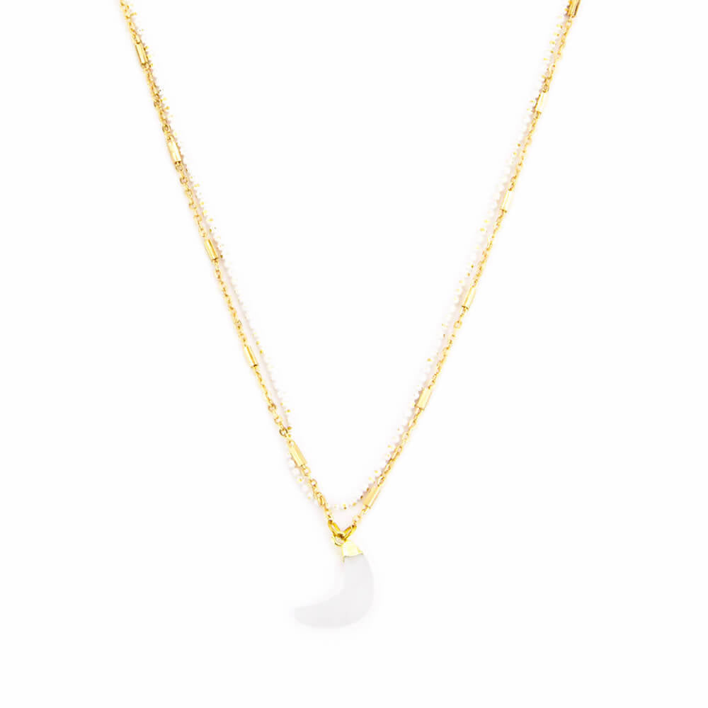 Moonstone Moon Double Chain Necklace