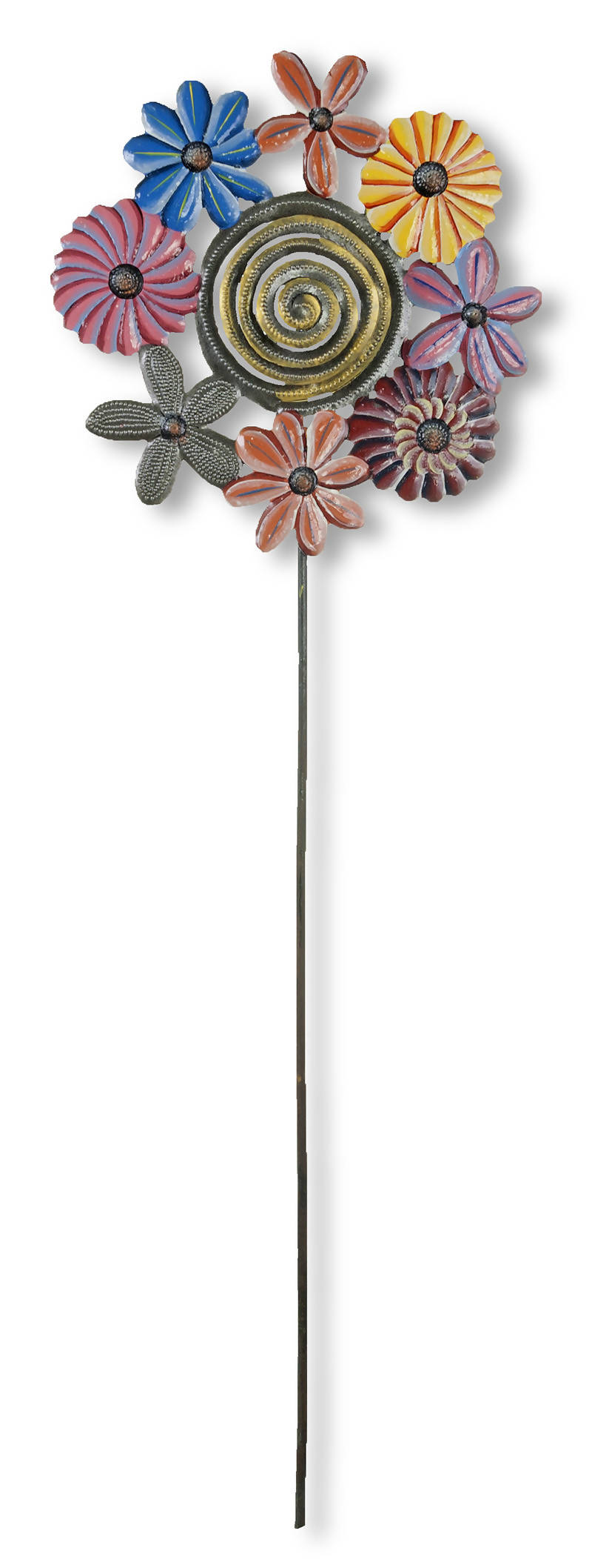 Ring of Flowers Painted Garden Stake
