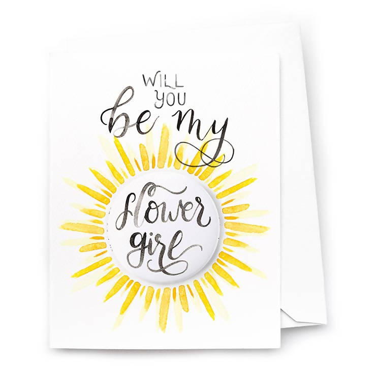 Be My Flower Girl Card and Pin-Back Button