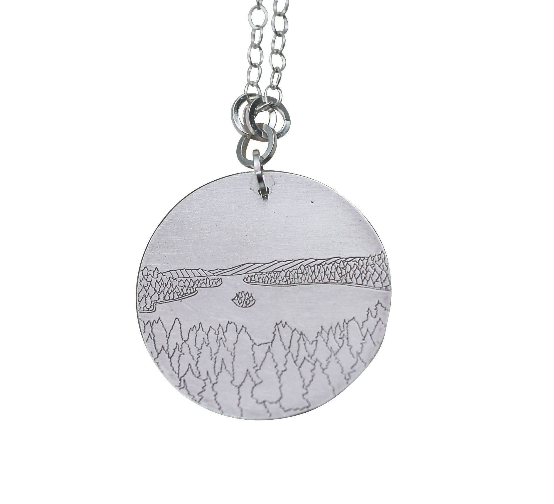 Emerald Bay Line Drawing Pendant