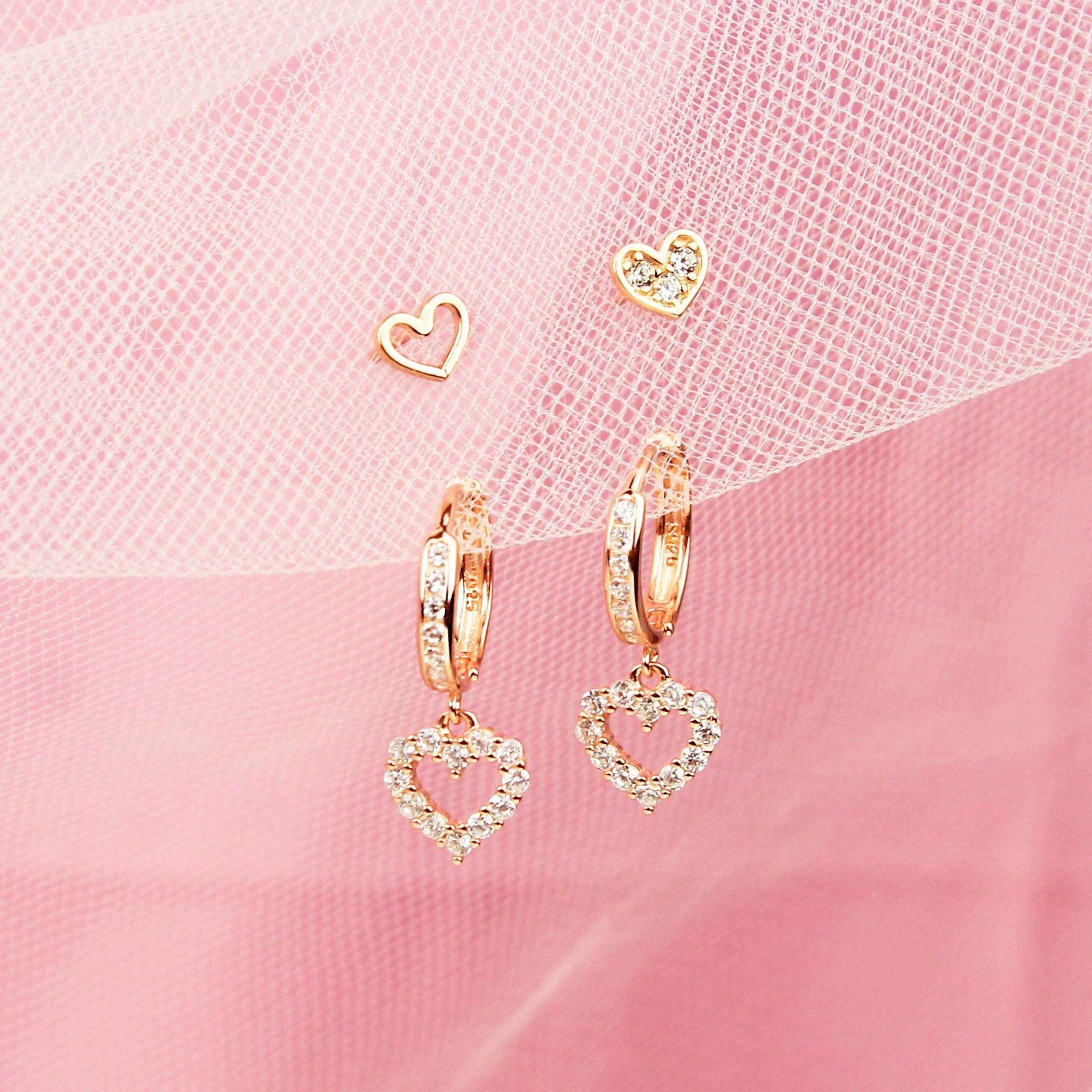 Lovely Heart Earring Set