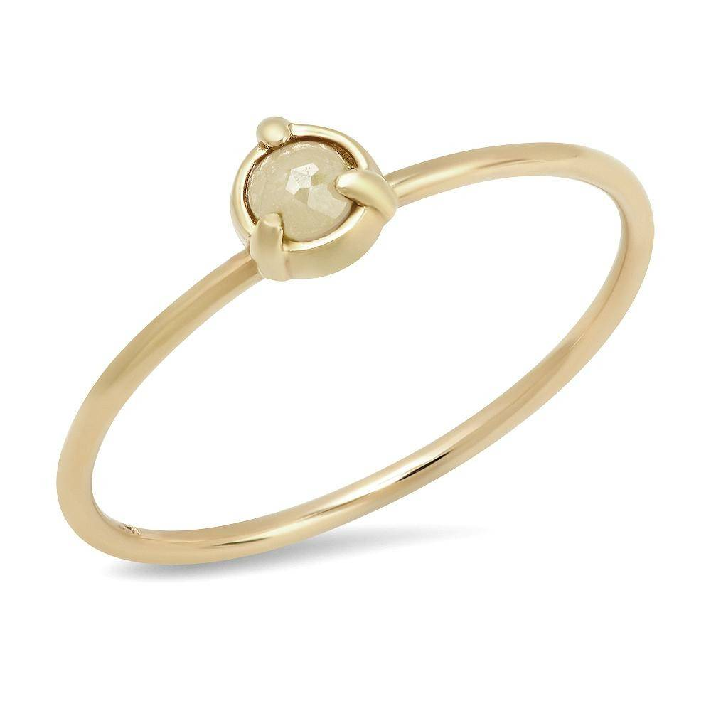 """Claw"" 14K Gold 3 Prong Stackable Ring with Natural Rose Cut Diamond, Gemstone or Pearl"