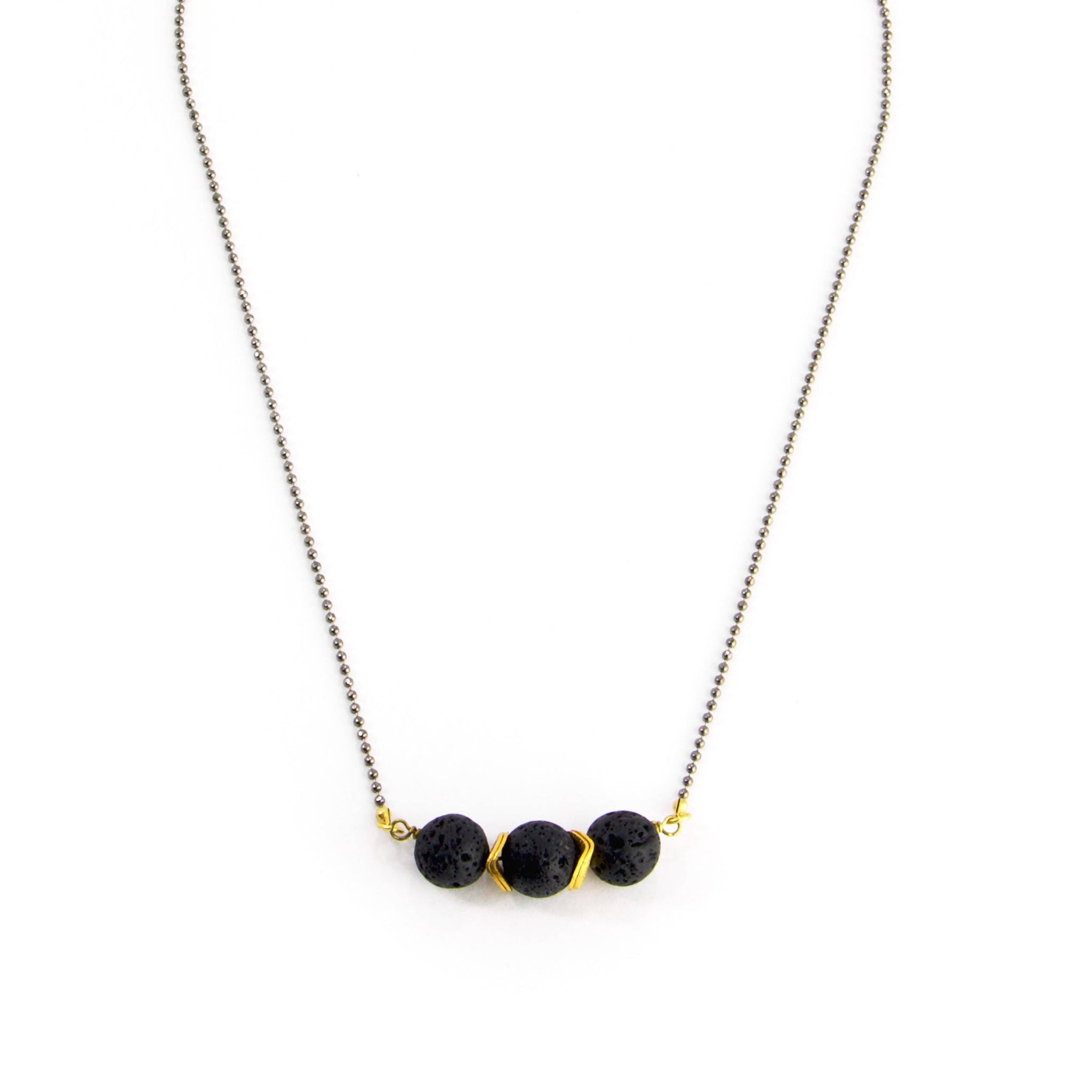 Triple Lava Stone Necklace
