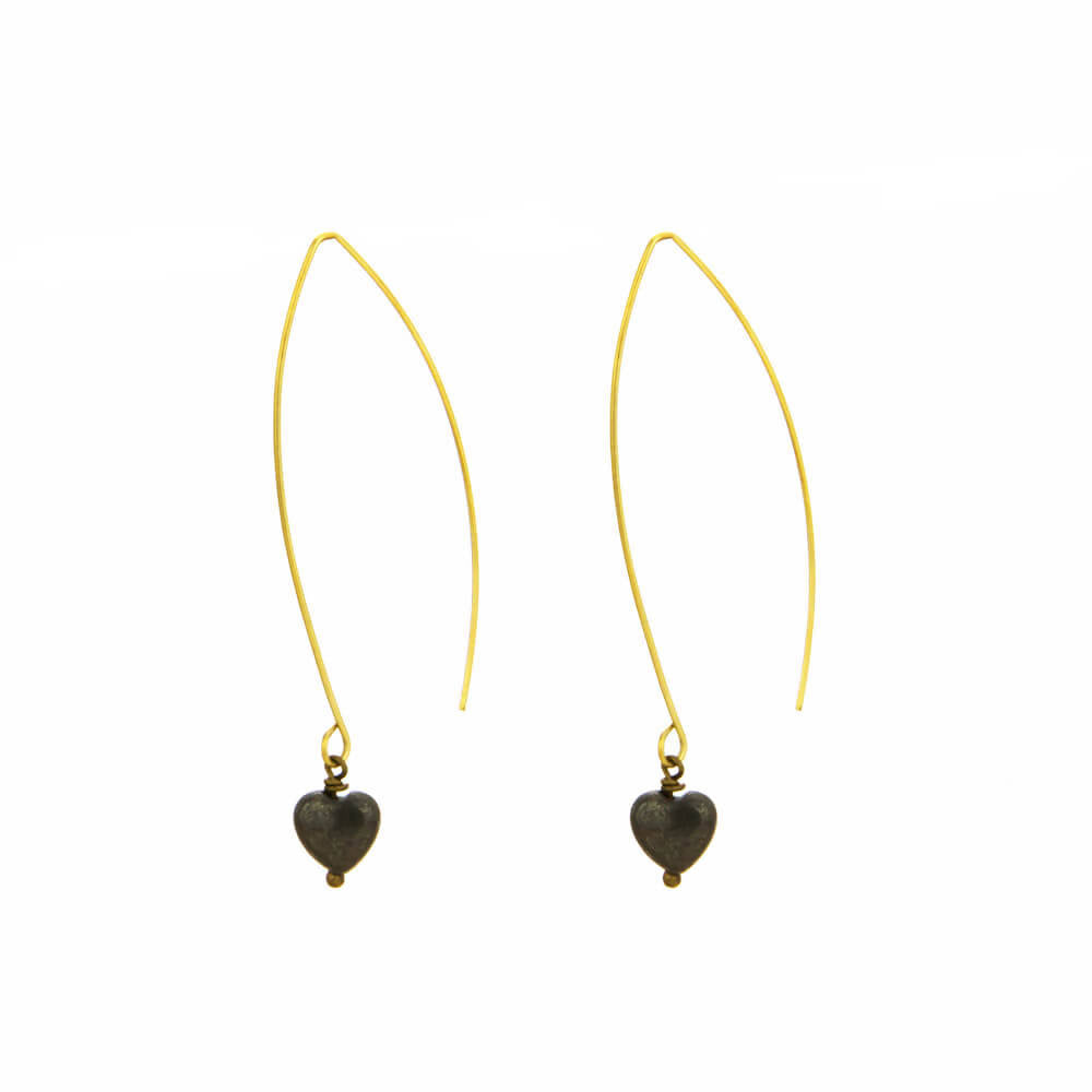 Carved Heart Pyrite Wire Earrings