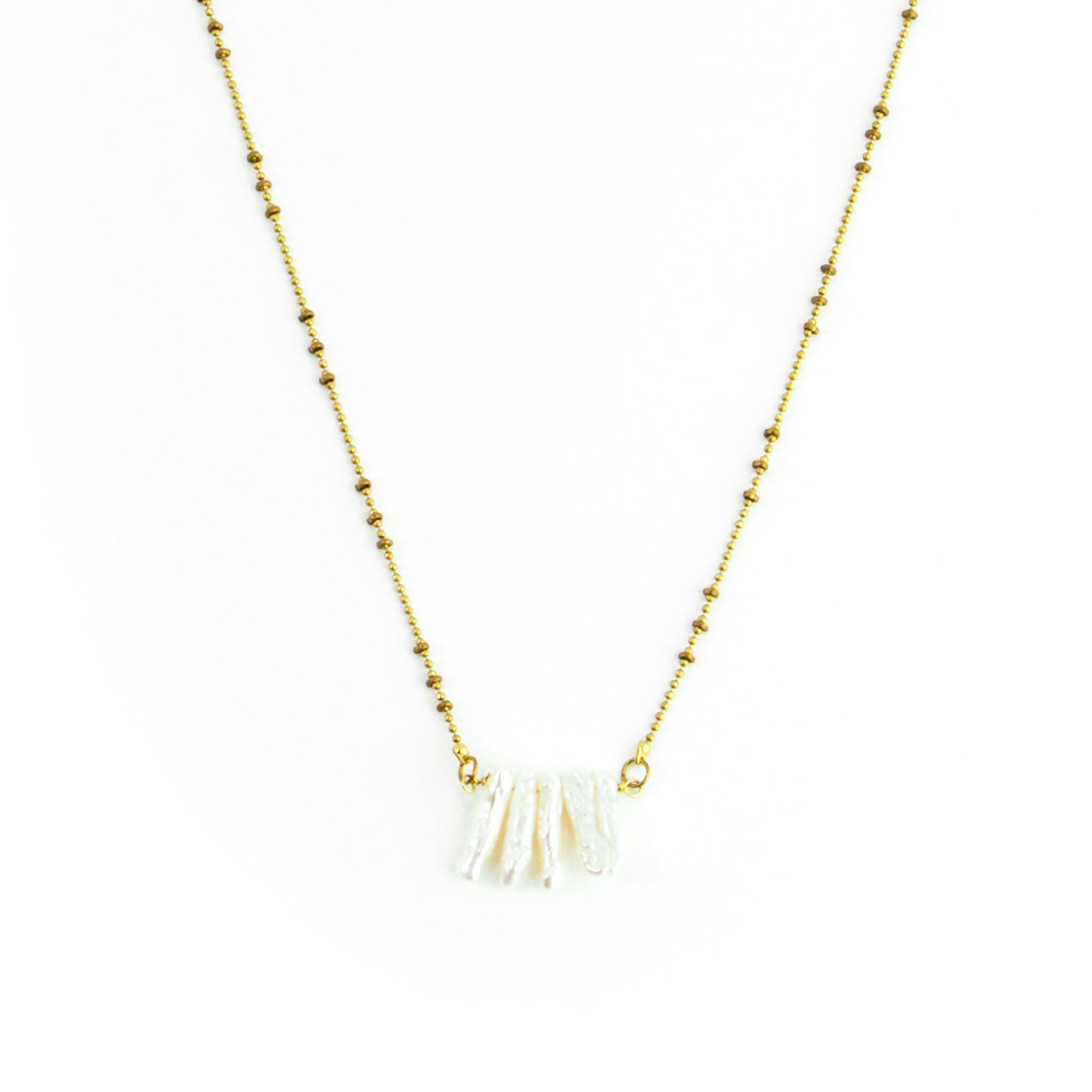 Pearl Stick Cluster Necklace