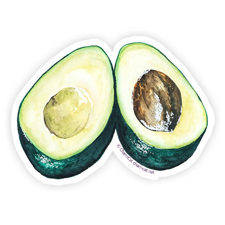 Avocado Halves Sticker