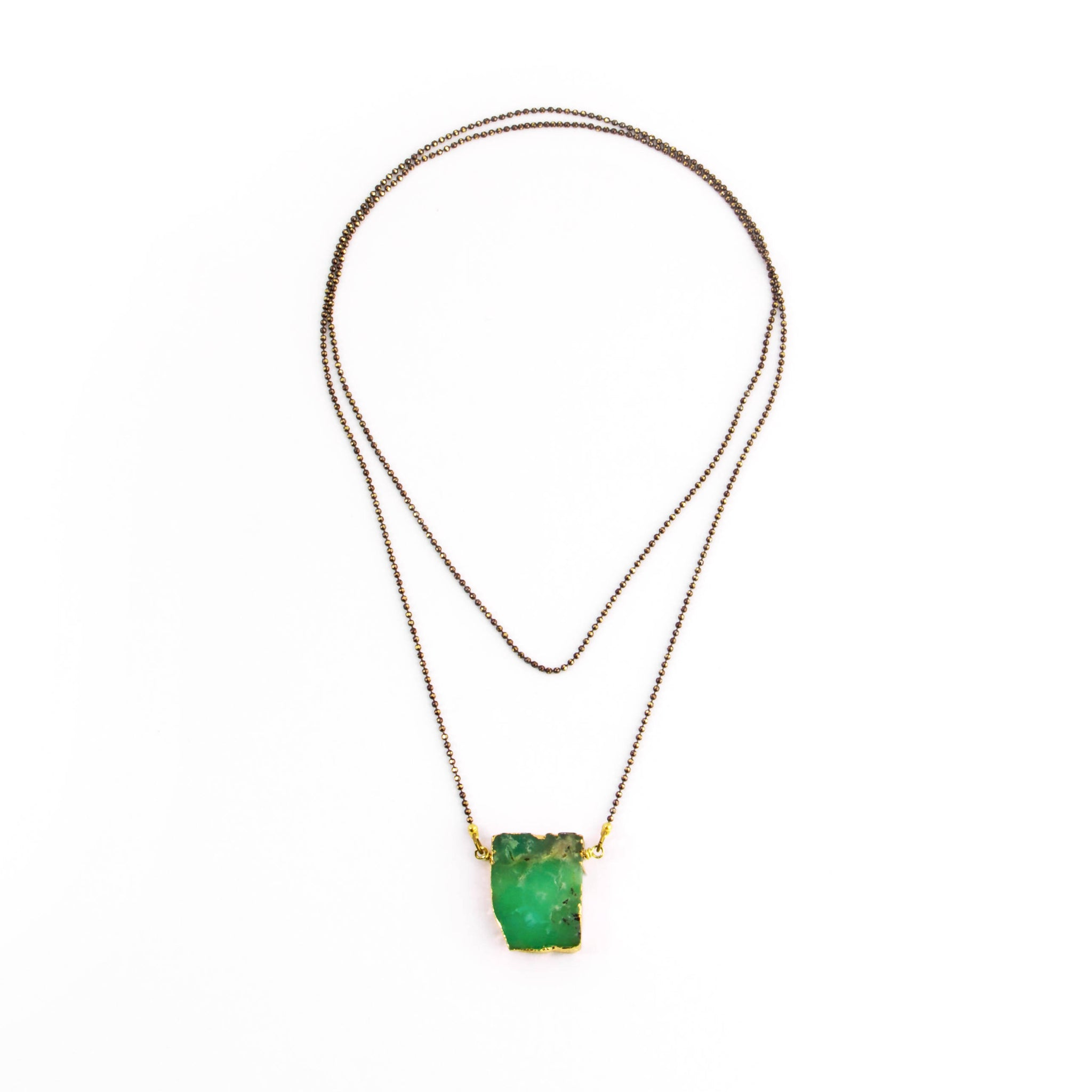 Long Chrysoprase Slice Necklace