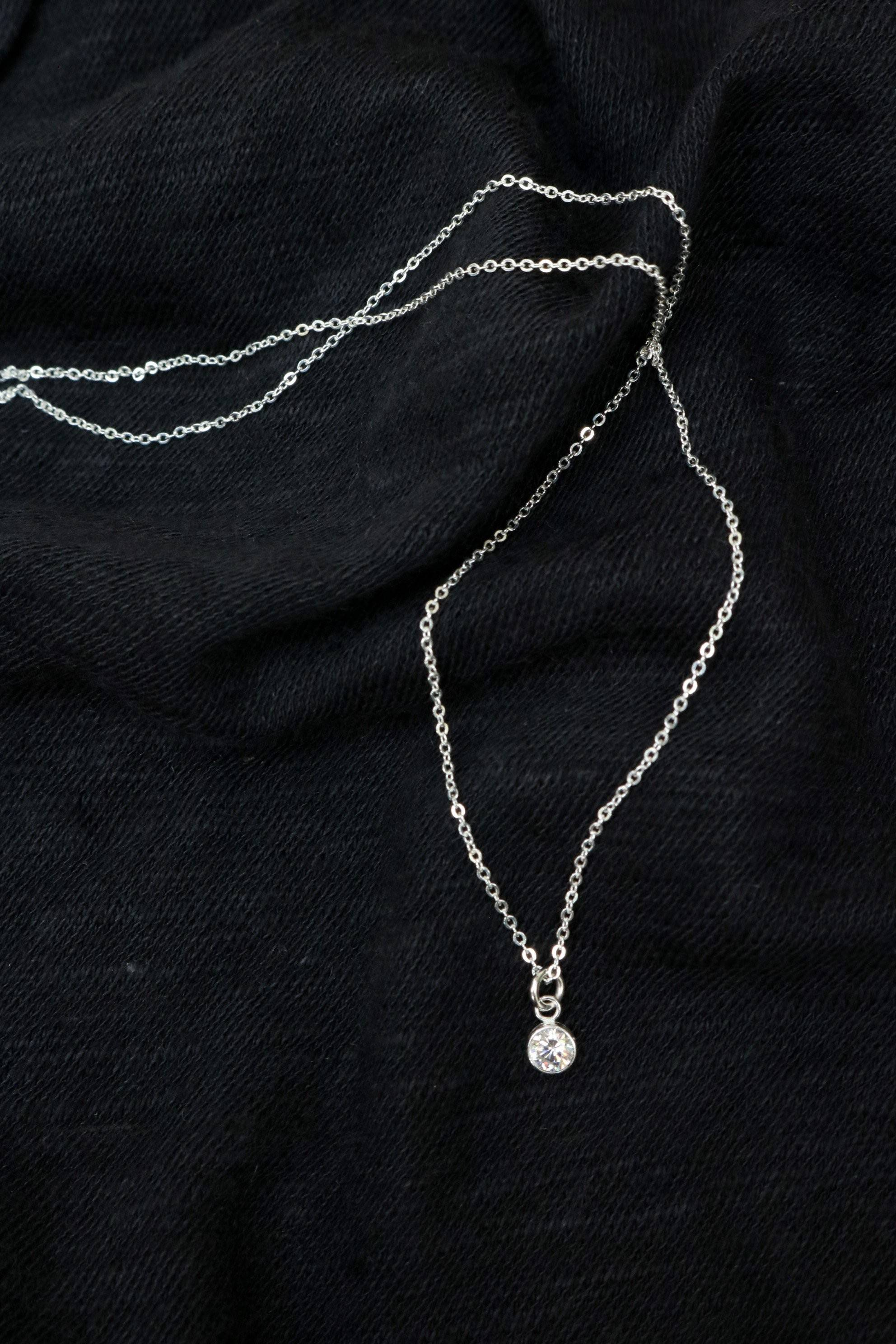Silver Bezel Necklace
