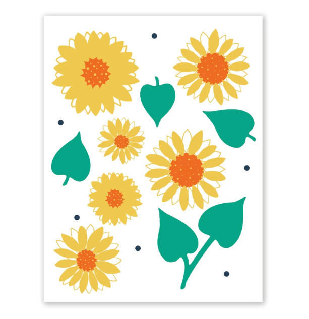 Art Print - Sunflowers & Leaves