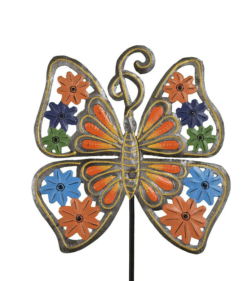 Painted Orange Floral Butterfly Stake