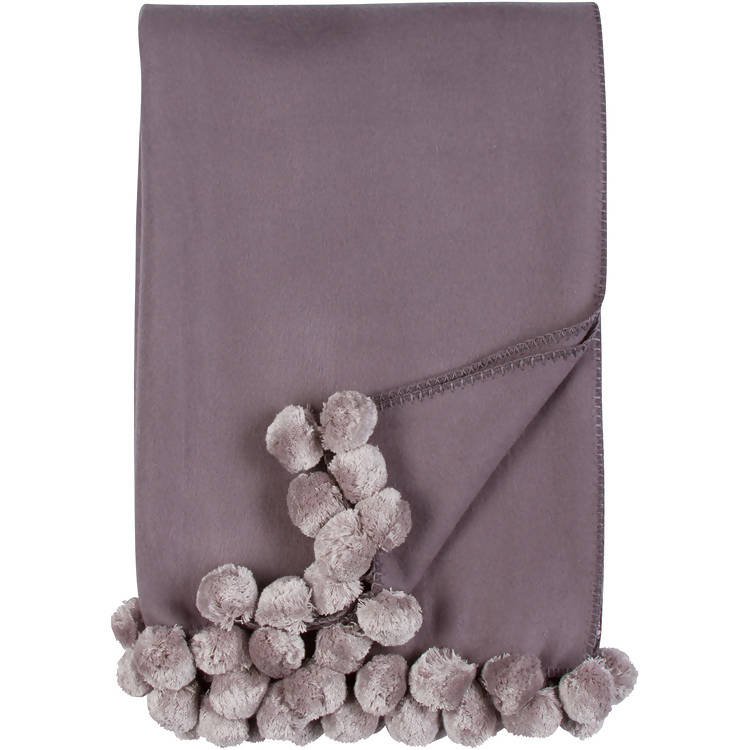 LUXXE POM POM THROW - STEEL/DOVE
