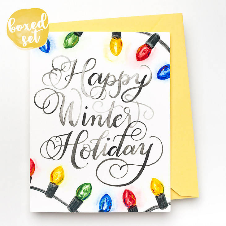 Happy Winter Holiday Cards, Set of 8