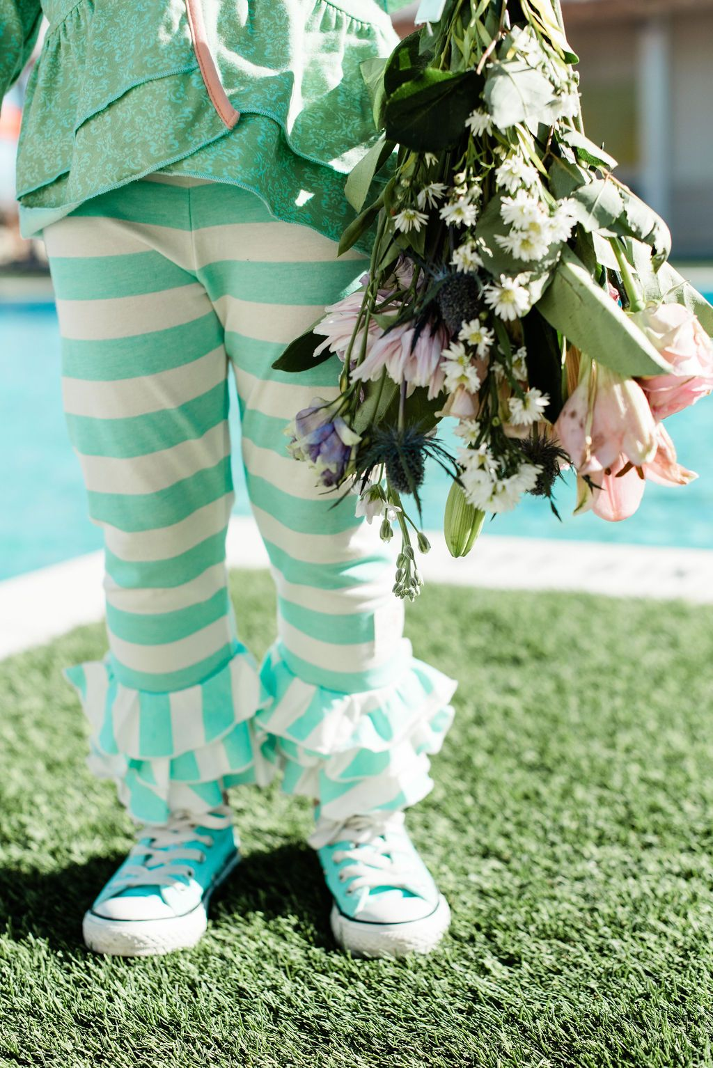 Triple Ruffle Leggings-Stripe