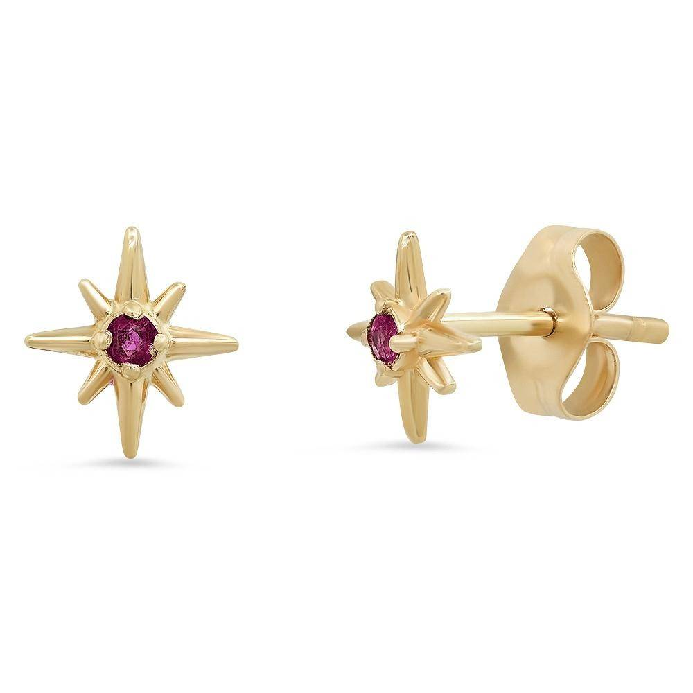 """Celestial"" 14K Gold Tiny North Star Stud Earrings with Diamonds, Rubies, Sapphires"