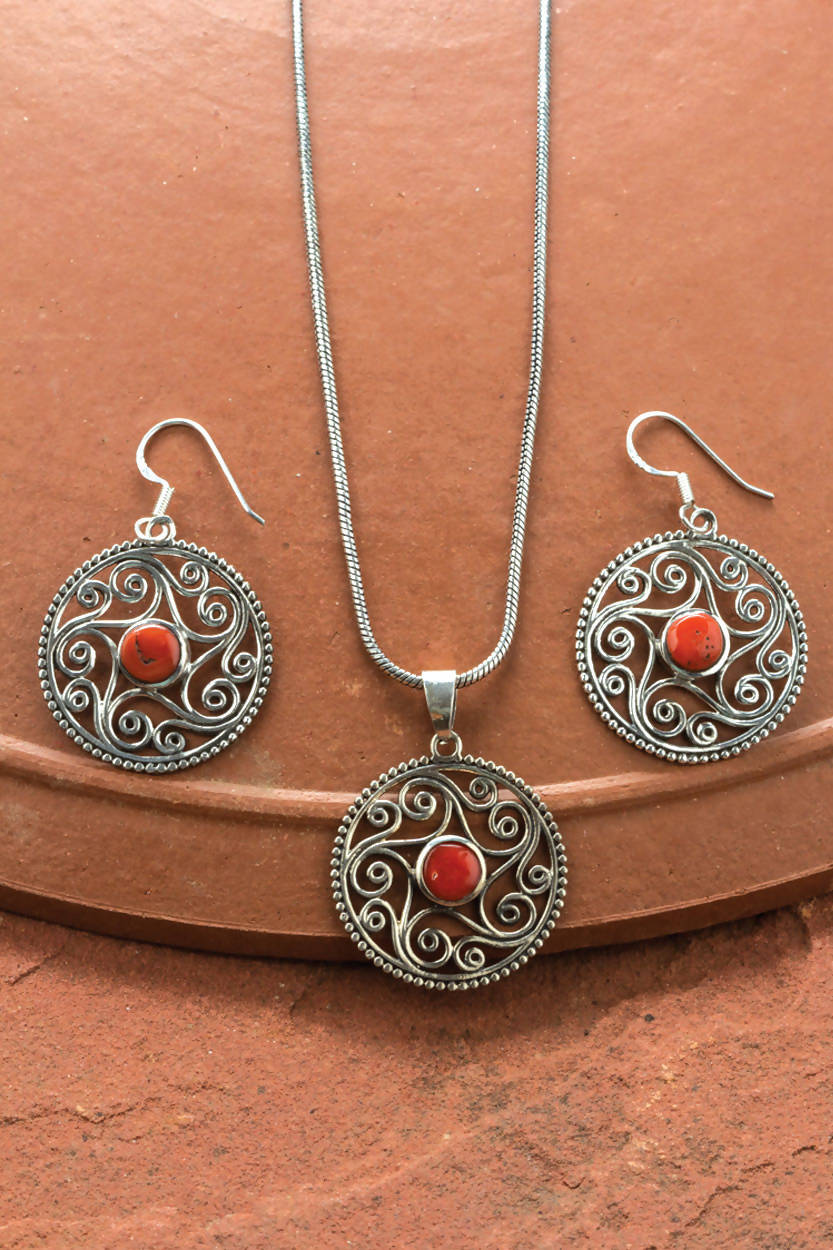 Coral Star Necklace Set SN-114