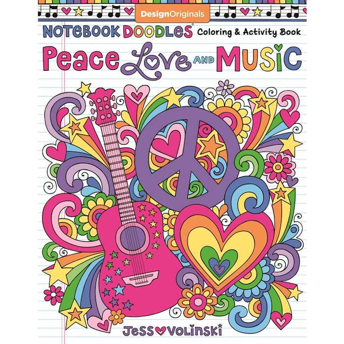 Notebook Doodles Peace, Love, and Music