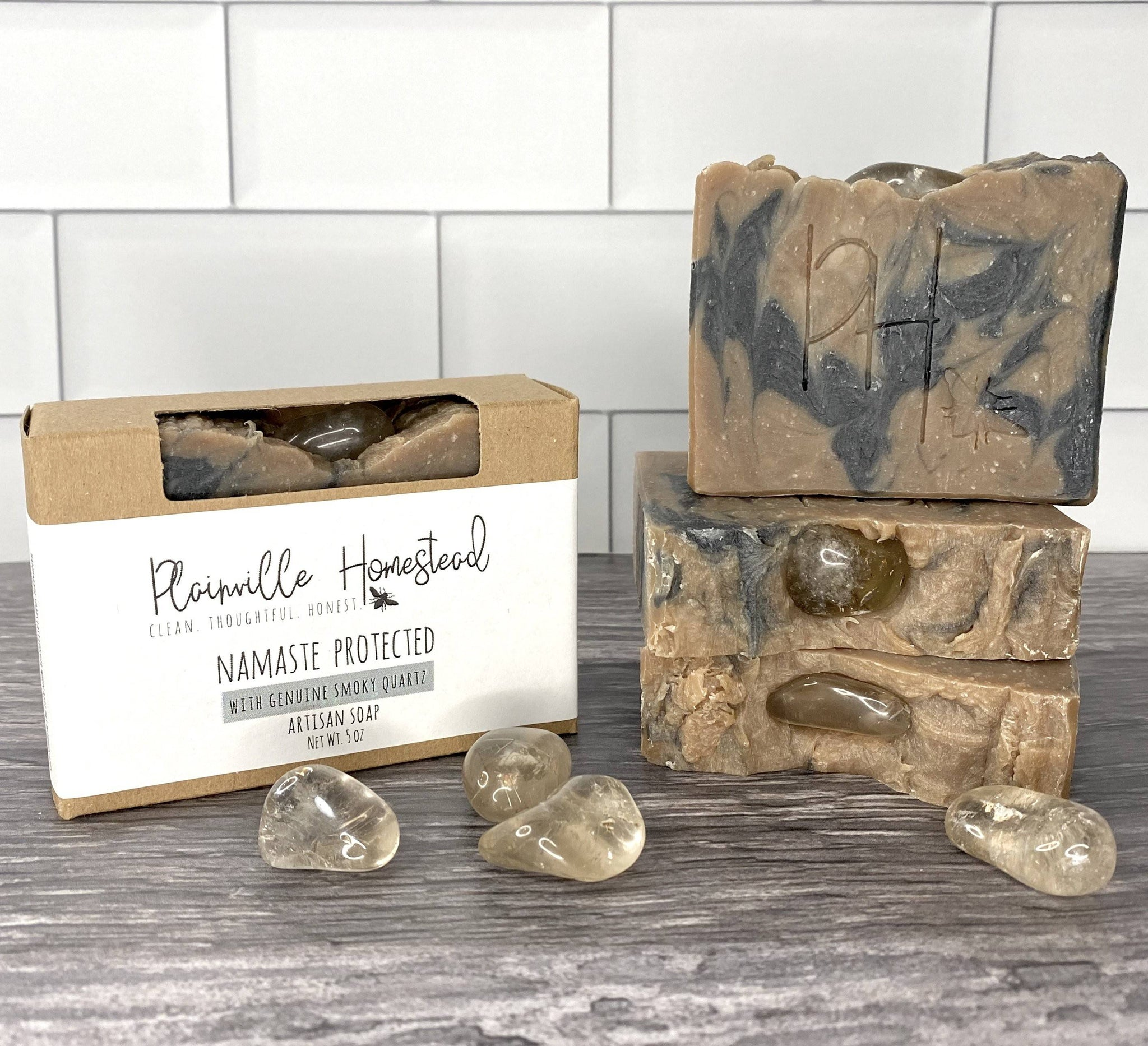 Namaste Protected Artisan Soap | Genuine Smoky Quartz