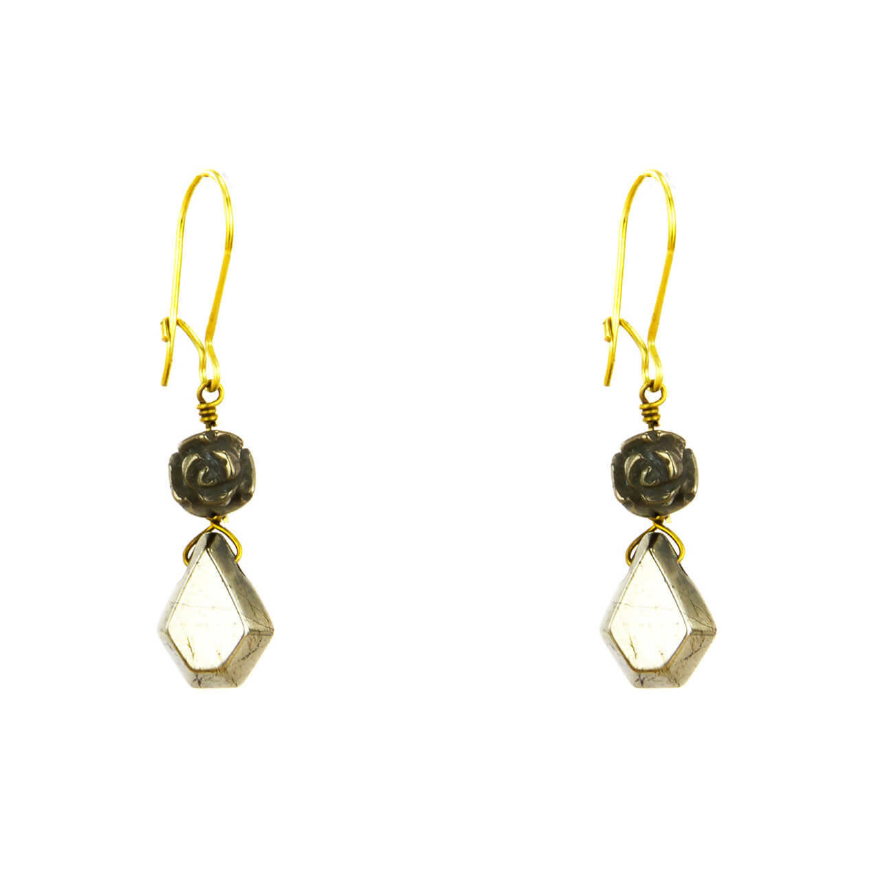 Pyrite Rose Drop Earring