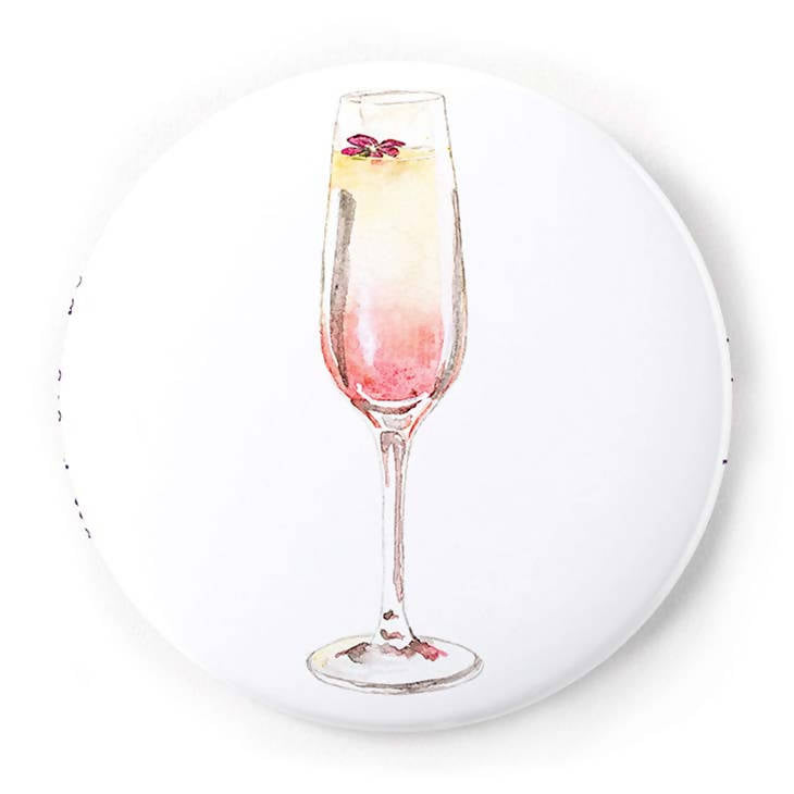 Grapefruit Mimosa 2 Inch Pin-Back Button