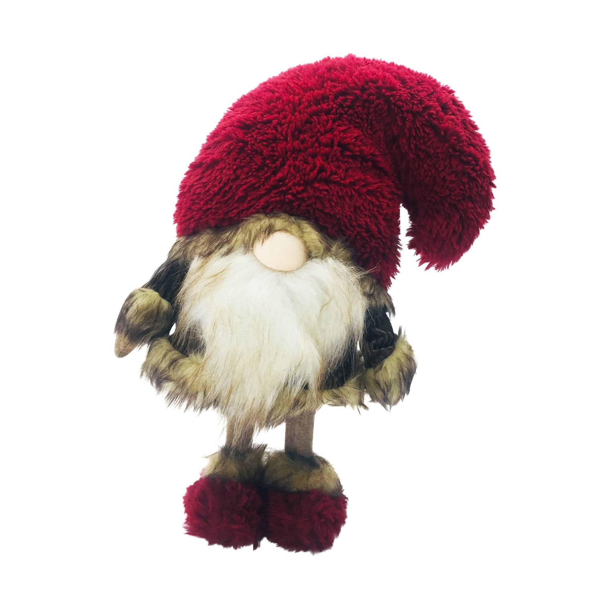 RED FURR HAT BROWN FABRIC GNOME
