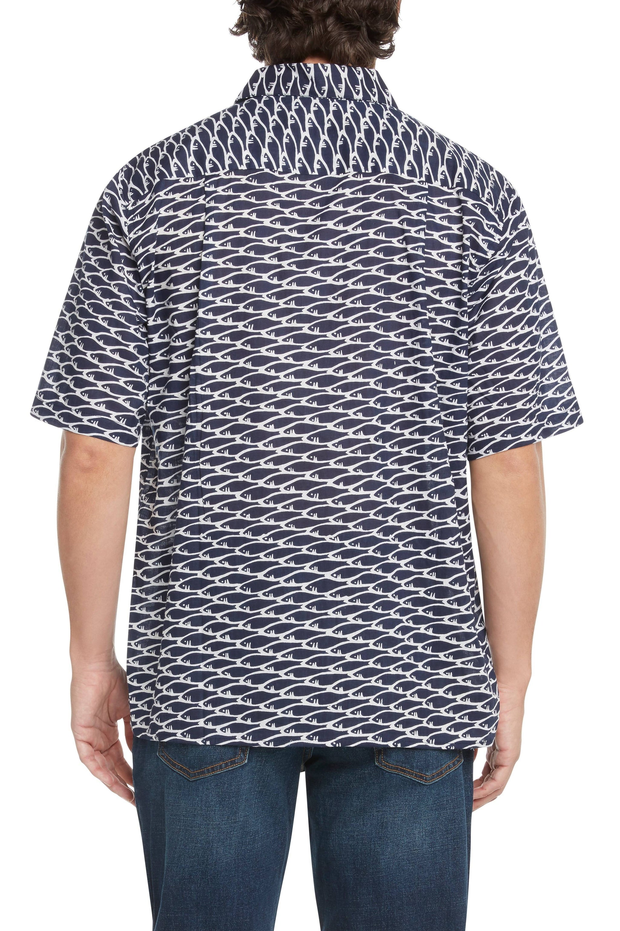 Men's Navy and White Fish Short-Sleeved Button Down Shirt