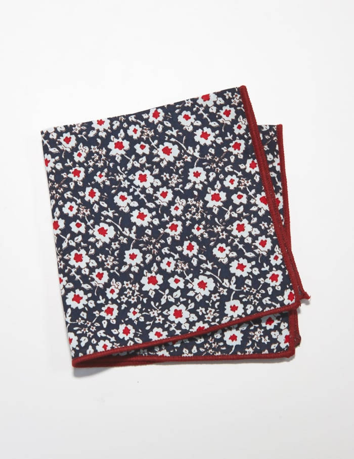 Blue Flower Pocket Square