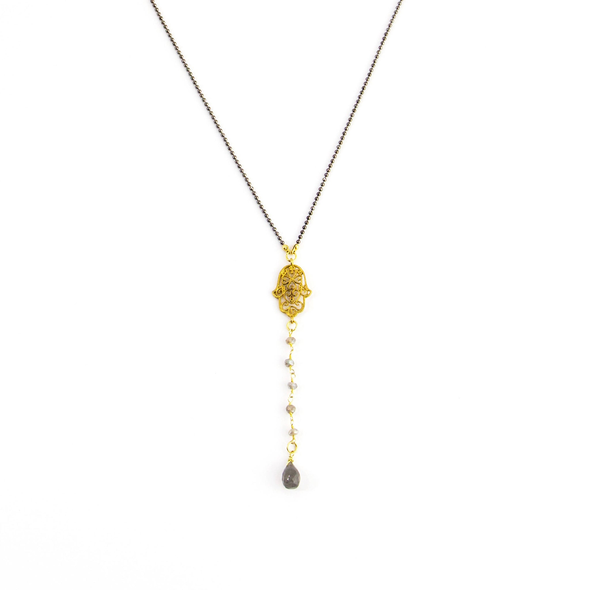 Hamsa Drop Y Necklace