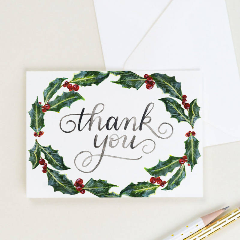 Holly Thank You Card, Set of 8