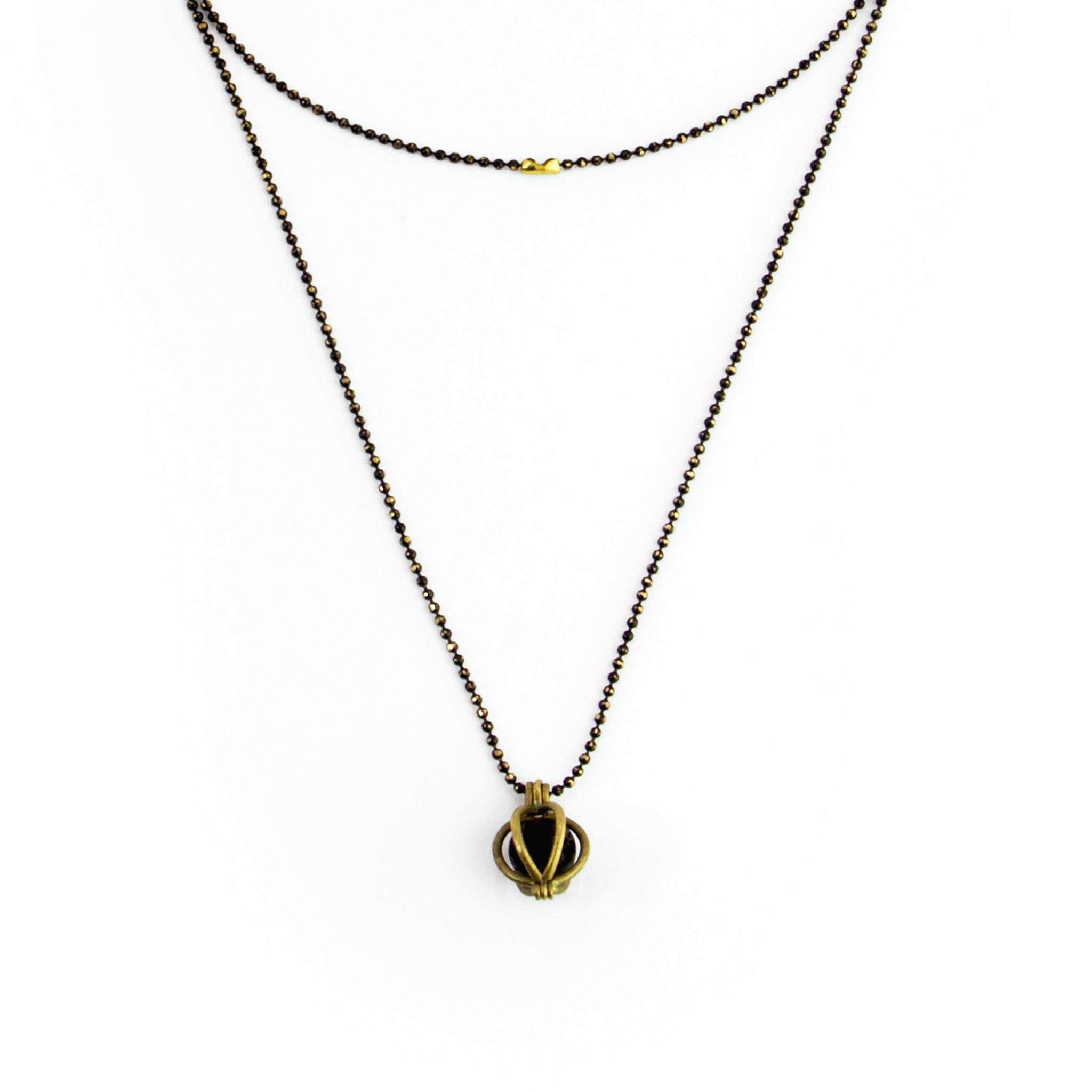 Long Caged Lava Stone Necklace