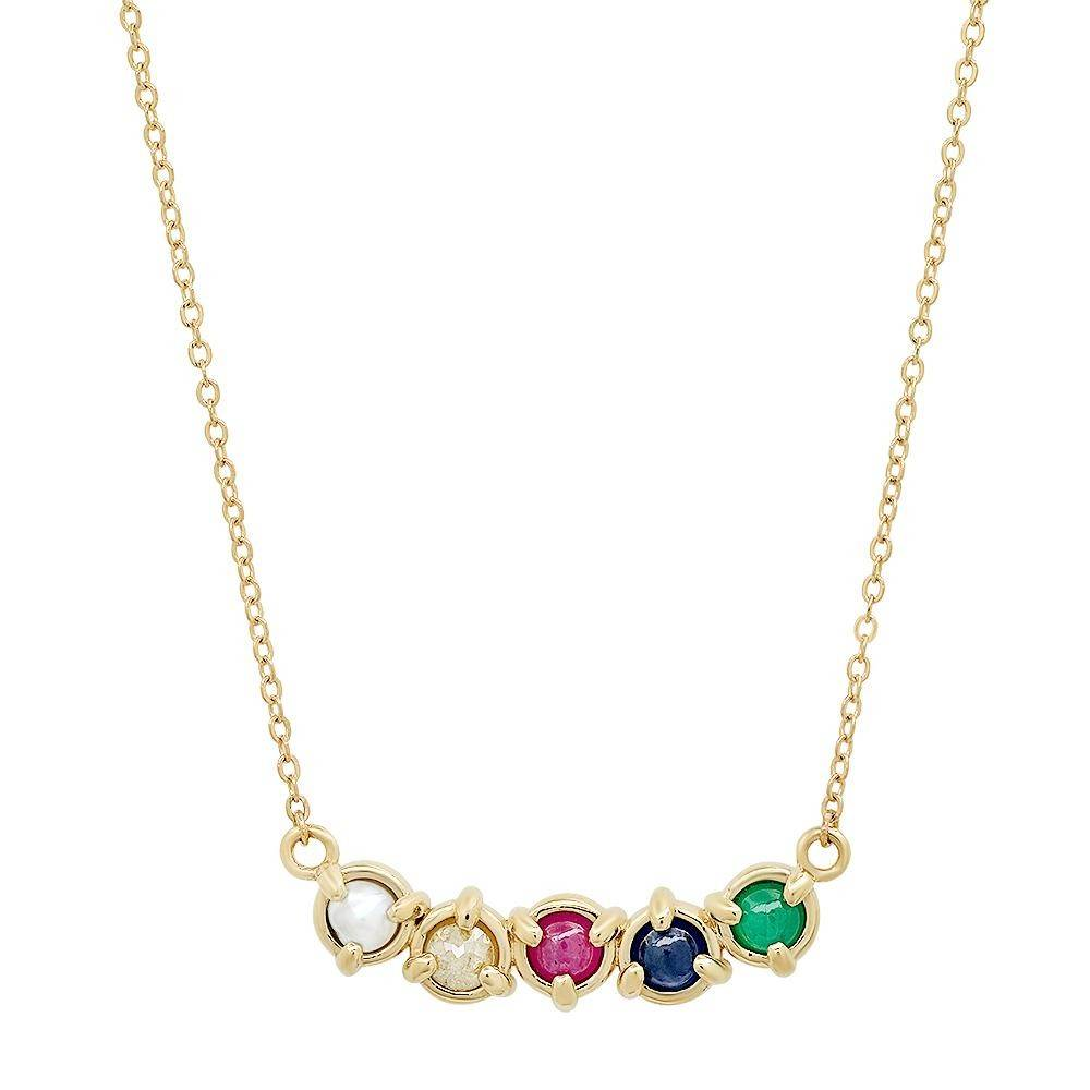 """Claw"" 14K Gold 3 prong Curve Necklace with Natural Rose Cut Diamonds, Gemstones and Pearls"