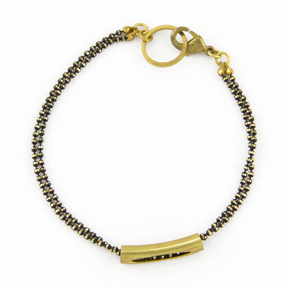 Double Chain Caviar Bar Bracelet