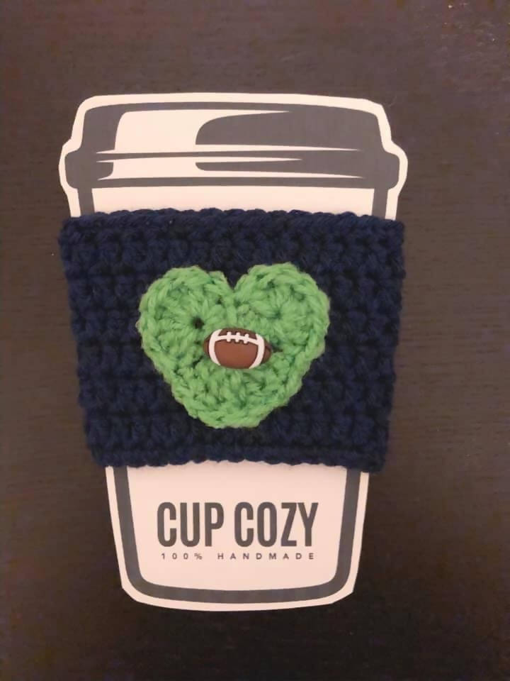 Football Coffee Cup Cozy - Navy Blue & Green