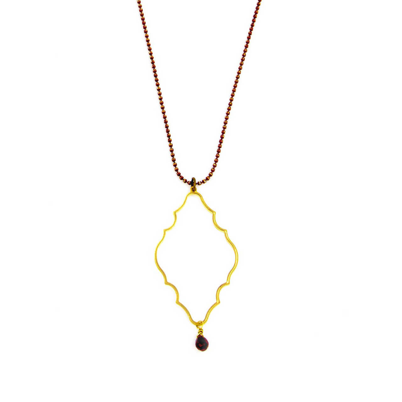Garnet Gothic Dew Drop Necklace