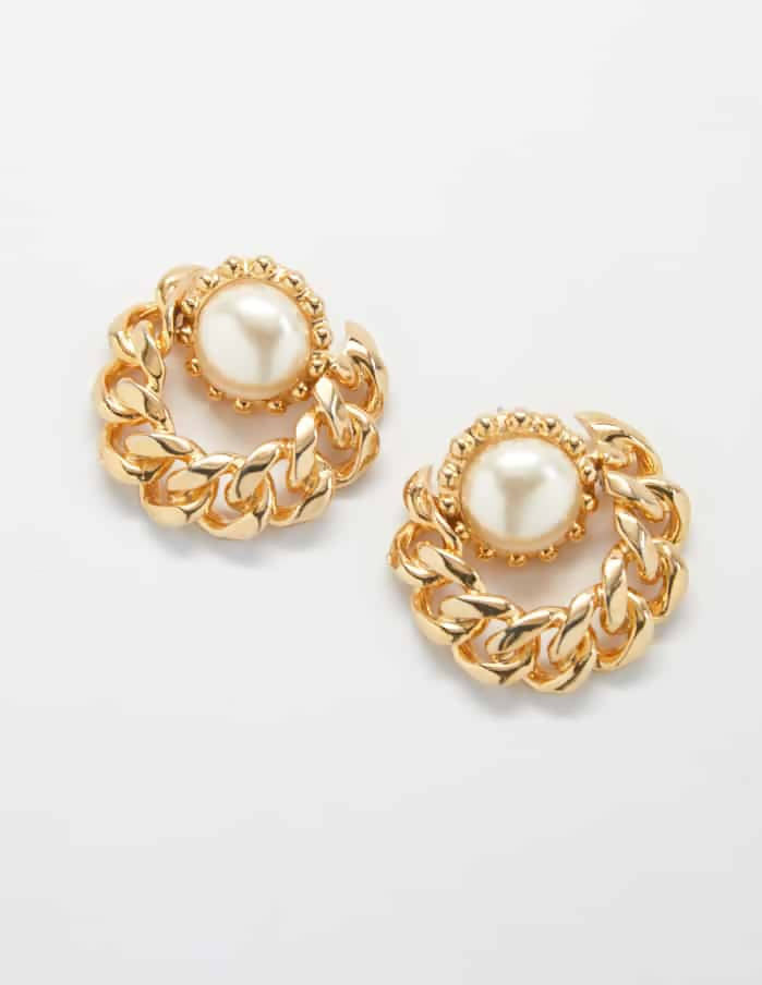 Pearl Chain Vintage Earrings