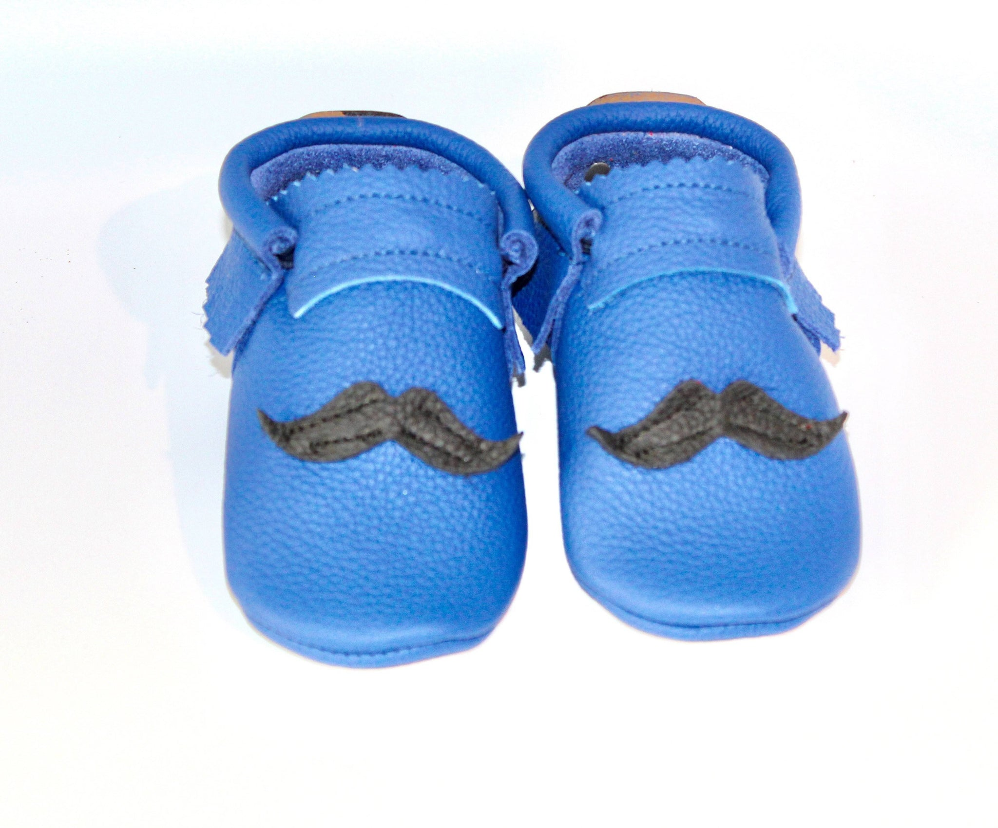 Mustache on Blue - Moccs