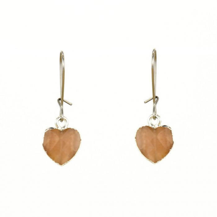 Pink Moonstone Heart Earrings