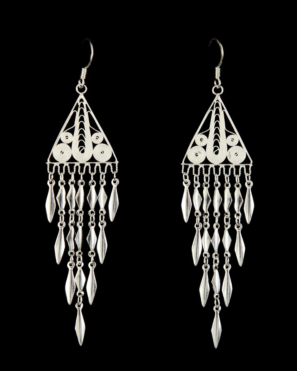 Filigree Earring - Long Triangles