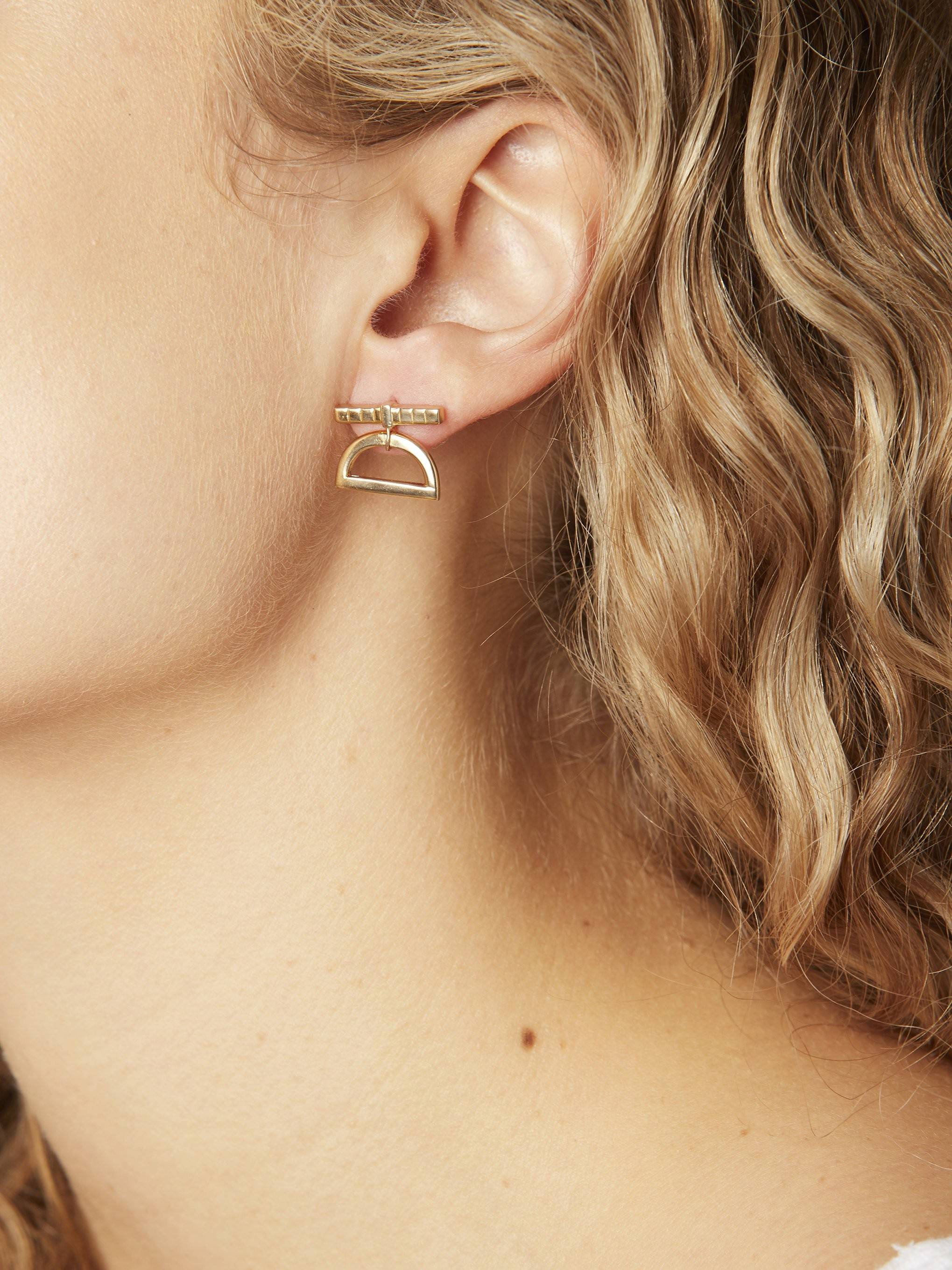 Gold Half Moon Drop Earrings