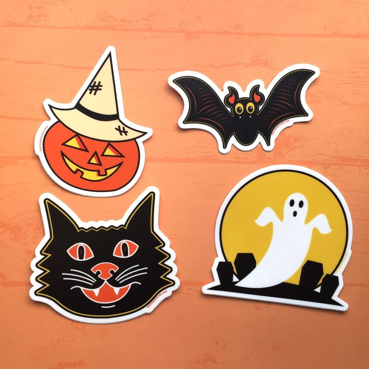"Vintage Halloween Sticker Pack 3"" - 4 stickers"