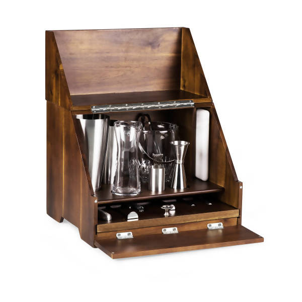 Madison Acacia Tabletop Bar Set, (Acacia Wood)