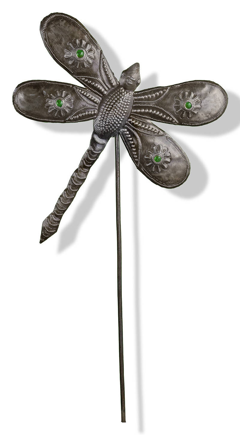 Dragonfly Garden Stake with Marbles