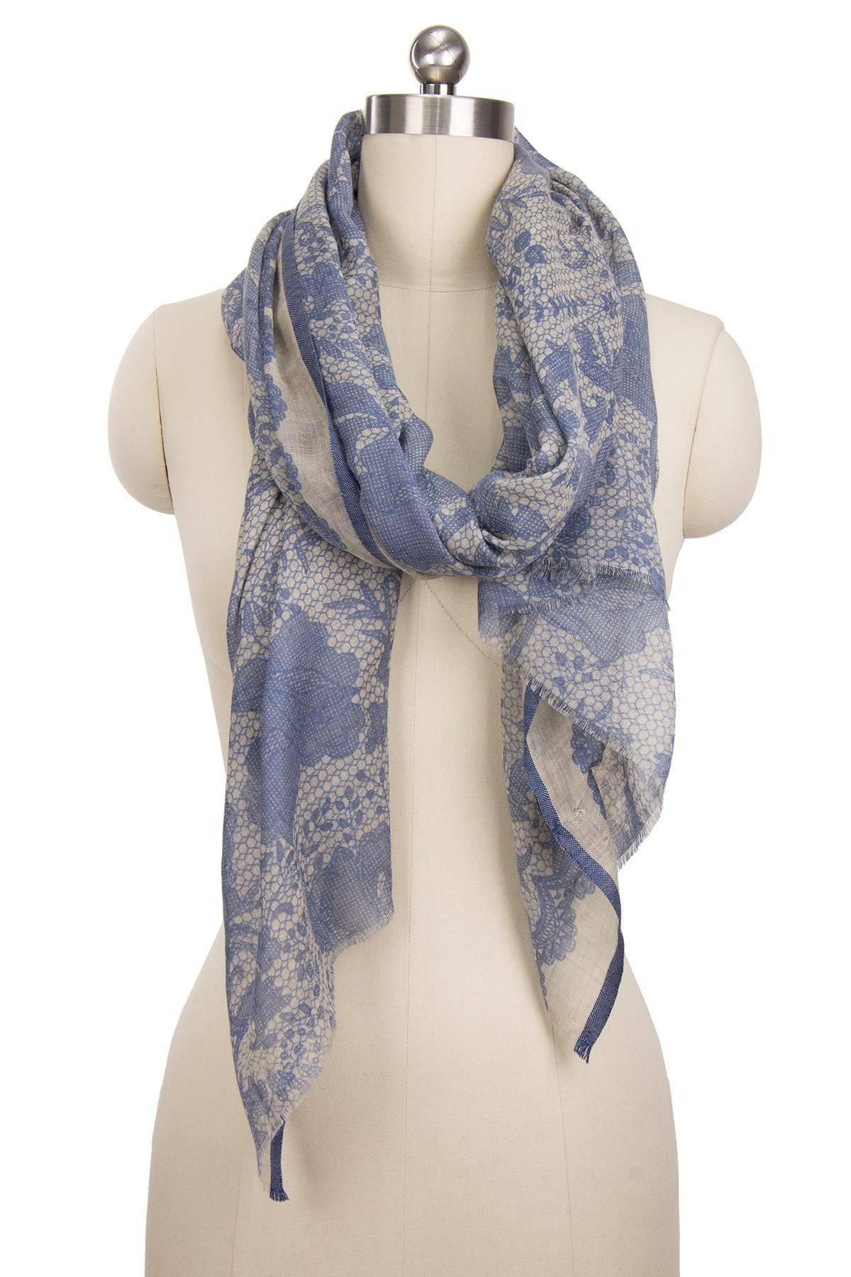 Denim Lace Detail Scarf