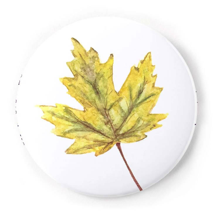 Yellow Fall Leaf 2 Inch Pin-Back Button