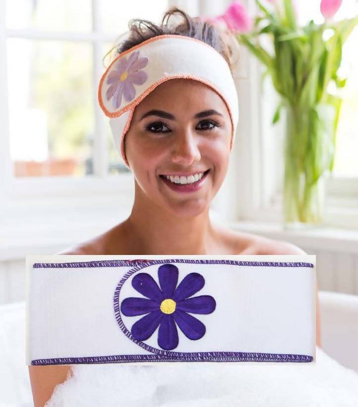White Spa Band with Purple Daisy