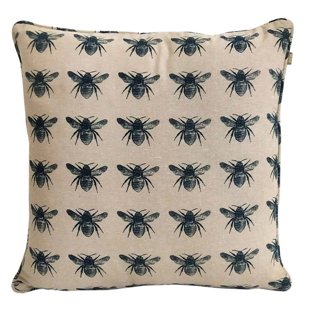 "Honey Bee Print Prussian Blue Pillow Cover 18"" x 18"""