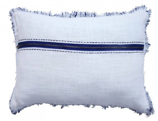 Handwoven Decorative Pillow/AD 541 IVR NVY 1420