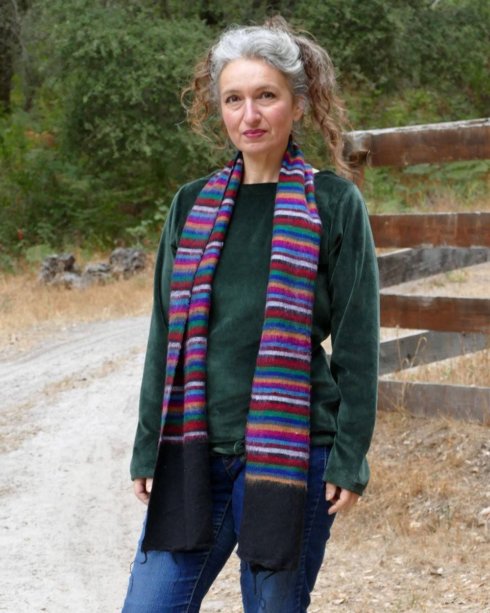 Multi Striped Brushed Woven Scarf