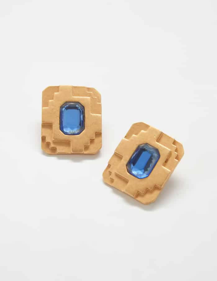 Blue Deco Monet Vintage Earrings