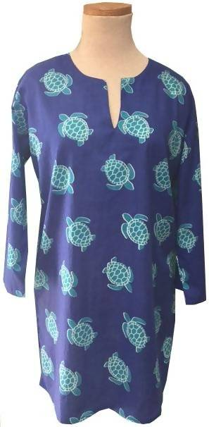 Royal Blue with Teal Turtle KikiSol Tunic